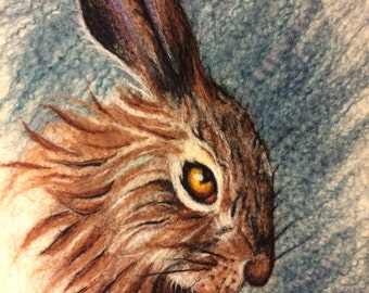Brown hare - needle felt animal painting