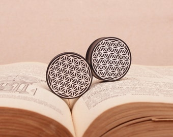 wood plugs - flower of life plugs - engraved gauges - engraved plugs - wooden gauges - custom plugs - custom gauges - ear plugs - ear gauges