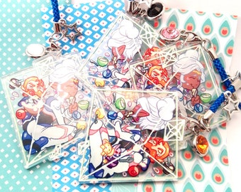 "Voltron Legendary Defender Princess Allura and Coran 2"" double sided transparent charm with space mice stars food and eating"