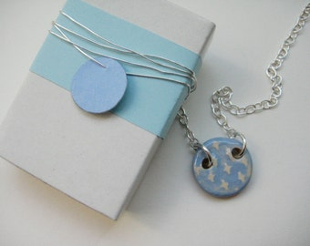 Necklace ceramic Silver 925 blue / cream about 1