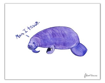 Manatee Watercolor Art Print | Man, I Tease. Animal pun play on words | sea life painting | ocean creatures | funny animal nursery decor