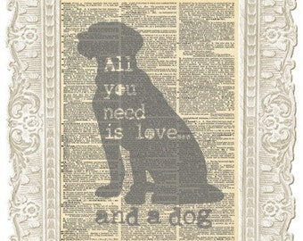 Cute dogs Quotes artwork print. Antique dog print. Dog quote Dictionary art on Vintage paper. Perfect for Dog lovers.