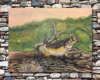 """Largemouth Bass Watercolor Painting and Fish Print 