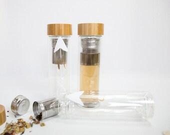 EMBOSS Custom Glass Bottle Tea Infuser Fruit Infuser 3 Colors
