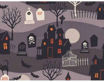 Spooktacular fabric patchwork patterned fabric fun halloween fabric gray day of dead American children fabric cotton fabric