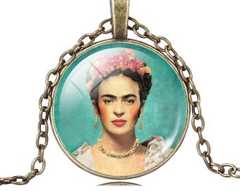 Frida Kahlo Turquesa Frida necklace pendant cabochon glass image of Frida
