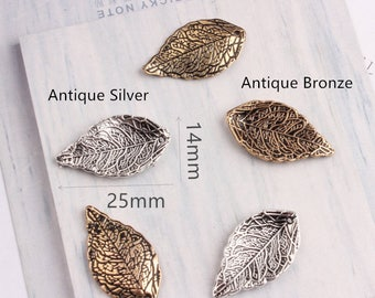 10Pcs Antique Bronze/Silver Tree Leaf Charms Jewelry,Feather Pendant for Bracelet/Necklace Charms Accessory