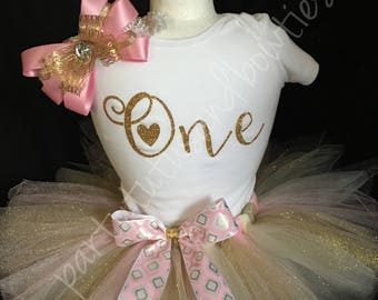 Pink and Gold ONE Tutu/Gold and Pink First Birthday/Girls first birthday tutu/Pink and Gold birthday tutu/Gold and Pink ONE tutu/Goldandpink
