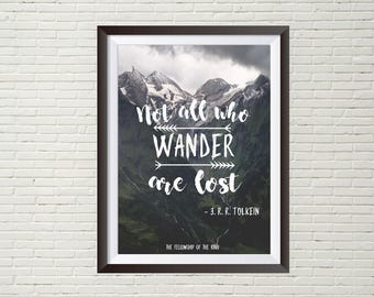 Not all who wander are lost - quoted handlettered - mini art print