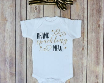 Brand Sparkling New Onesie, Baby Shower Gift, Newborn Onesie, Baby Onesie, Baby Tee, New Baby Tee, Take Home Outfit,