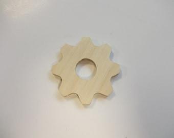 4cm Wooden Cog Variant 2 - Large Embellishment - Plain Birch Plywood