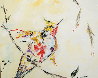 Spring bird original oil painting on canvas palette knife ready to hang