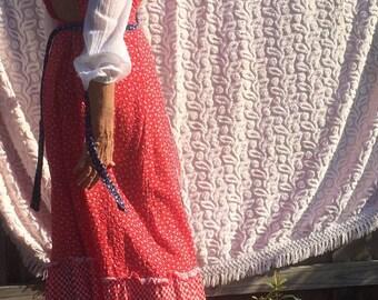 70's calico cotton prairie maxi
