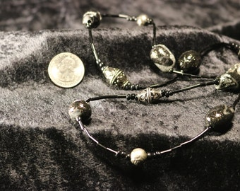 Beautiful Black and Silver Beaded Necklace