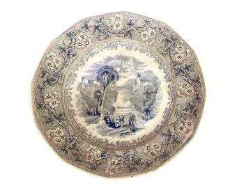 Antique 1800s Plate, Blue And White Dish, Tivoli C Meigh, Victorian Period Dish, Blue Transferware Platter, Italian Landscape Porcelain Dish
