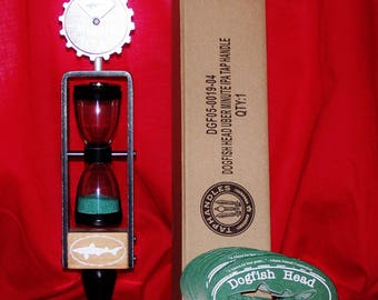 New in the box beautiful Dogfish Head special edition ipa tap handle w/25 dogfish head Coasters & Stand hourglass tapper interchangable top!
