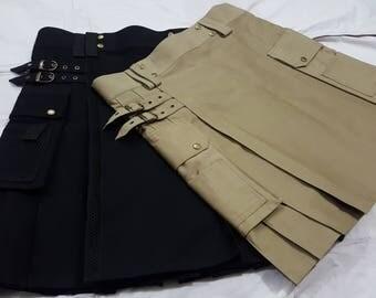 DEAL 2 KILTS Black Utility Net Flop Pockets Style kilt | Khaki Utility kilt