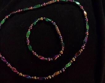 Rainbow magnetic hematite therapy necklace bracelet gift set