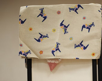 Linen kitchen tea towel / blue horses