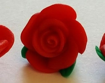 Polymer clay red rose flower bead 13mm x 8mm  Pkg of 24 beads