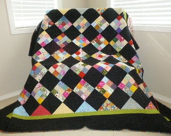 Black Nine Square Quilt