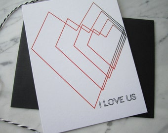 I Love Us Notecard - Set of 3 Cards with Envelopes