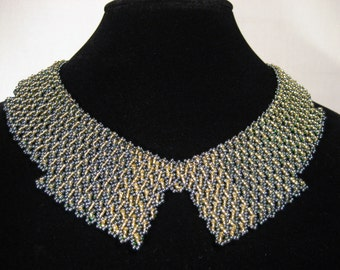 Dark green & gold beaded collar necklace