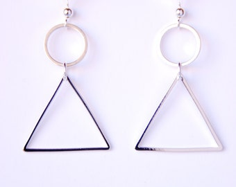 Silver Geometric Earrings Minimalist Earrings Triangle Earrings Simple Circle Earrings Modern Everyday Jewelry For Women Gift For Her