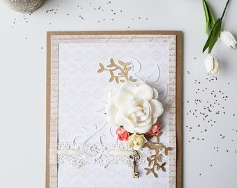 Handmade, Greeting cards, Paper, Gold, Gift for her, Paper flowers, Paper Cuts, Lace, Metal charms, Girlfriend gift, Shabby chic romantic