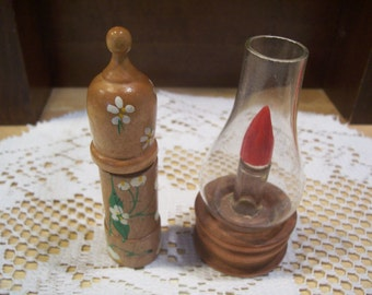Two Wood Perfume Bottle Holders