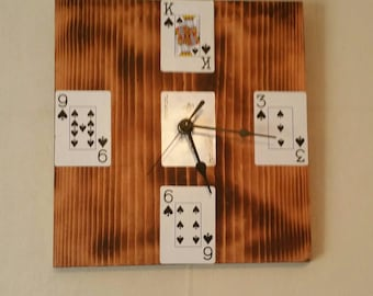 rustic wooden playing card clock,