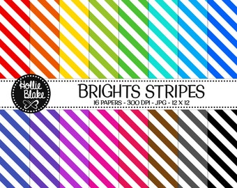 Buy 1 Get 1 Free!! 16 Bright Stripes Digital Paper • Rainbow Digital Paper • Commercial Use • Instant Download • #STRIPES-102-B