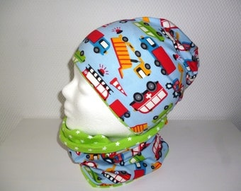 Set reversible hat, and Schlupfschal Gr. 50-52 KU cars