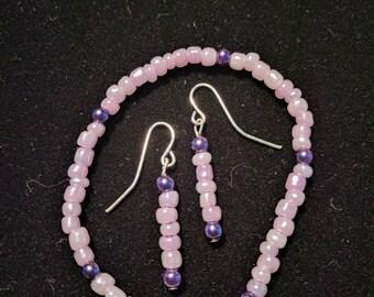 Purple beaded bracelet and earring set