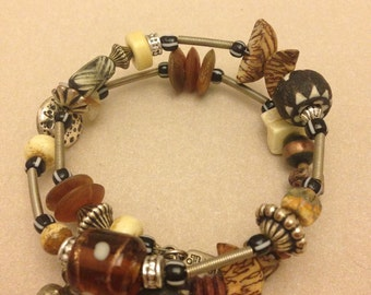 Vintage Coiled Wire Beaded Bracelet