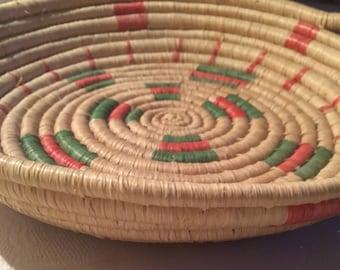 Vintage woven spiral basket /bowl. Handwoven African sisal basket. African artisan basket. Spiral sisal fruit basket.