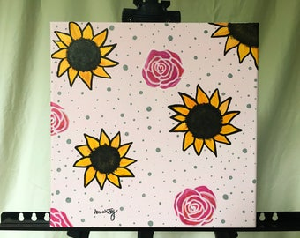 Pink Rose and Sunflower Painting