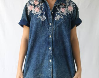 vintage 80's button up denim shirt with embroidery
