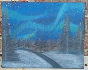 Aurora borialis/winter  scene