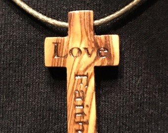 Genuine Olive Wood Cross Necklace
