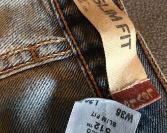 Vintage slim fit levis 512 jeans size 36 x 30 super cool fades look!