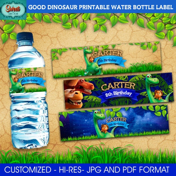 Good dinosaur personalized printable water bottle label good
