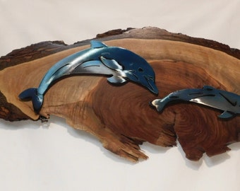 Two Dolphins on Black Walnut by Steel Crazy Virginia