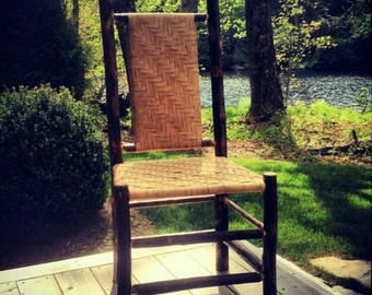 Hickory Dining Chair with cane seat and back