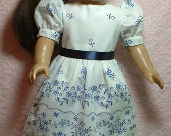 "Blue Delft Dress, 18"" doll clothes, fits American Girl doll"