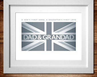 Dad & Grandad Word Art print* A4, A3 or Digital PDF