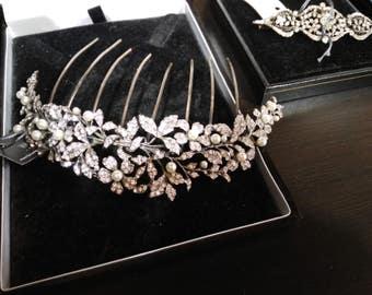 Comb jewel. Silver and Swarovski