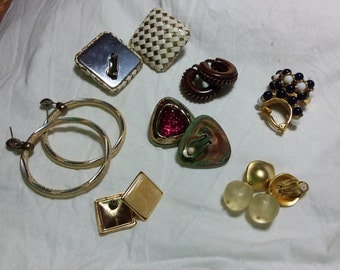 Seven mixed pairs of vintage earrings