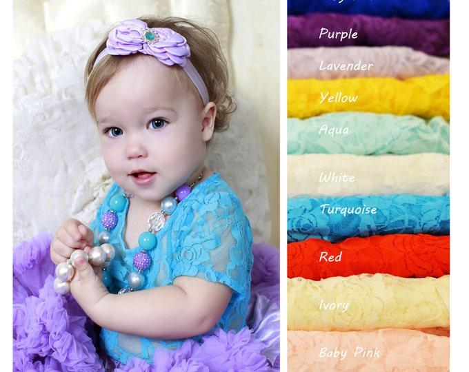Baby Girls Lace Top, PICK COLOR, baby birthday top, baby cake smash top, baby girls short sleeve top, baby girls long sleeve top, photo prop
