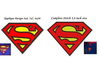 Superman Embroidery Design - 2 designs instant download